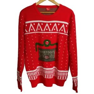 Ugly Christmas Red Fit place Themed Sweater, sz L